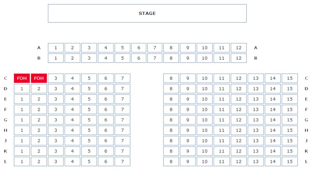 RLT's Proscenium Arch Seating Plan, 159 Capacity